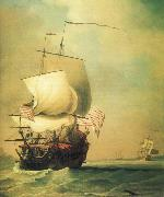 Monamy, Peter An English East Indiaman bow view oil painting artist