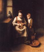 Nicolas Maes A Woman Scraping Parsnips,with a Child Standing by Her oil painting