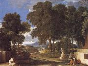 Nicolas Poussin Landscape with a Man Washing His Feet at a Fountain