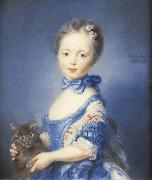 PERRONNEAU, Jean-Baptiste A Girl with a Kitten oil painting on canvas