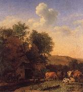 A Landscape with Cows,sheep and horses by a Barn, POTTER, Paulus