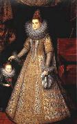 POURBUS, Frans the Younger Portrait of Isabella Clara Eugenia of Austria with her Dwarf oil painting artist