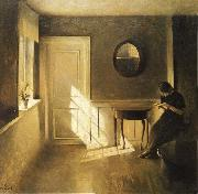 Peter ilsted Interior with Girl Reading oil painting