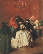 Pietro Longhi Masked venetians in the Ridotto oil painting