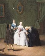 Pietro Longhi A Nobleman Kissing a Lady-s Hand oil painting