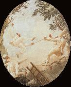 TIEPOLO, Giovanni Domenico Pulcinelle on the Tightrope oil painting reproduction