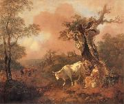 Landscape with a Woodcutter cowrting a Milkmaid, Thomas Gainsborough