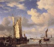 VELDE, Willem van de, the Younger Dutch Vessels Close Inshore at Low Tide,and Men Bathing oil painting reproduction