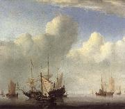 VELDE, Willem van de, the Younger A Dutch Ship Coming to Anchor and Another Under Sail