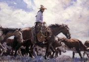 W.H.D. Koerner The Stood There Watching Him Move Across the Range,Leading His Pack Horse oil painting