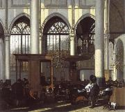 WITTE, Emanuel de The Interior of the Oude Kerk,Amsterdam,During a Sermon oil painting reproduction