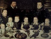 Lord Cobham with his wife and her sister Jane and their six Children painted in 1567