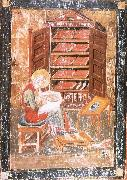 unknow artist The prophet Ezra works Begin the saint documents, from the Codex Amiatinus, Jarrow oil painting on canvas