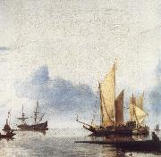 A Dutch Yacht and Other Vessels Becalmed Near the Shore, unknow artist
