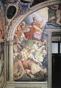 Mose strikes water out of the rock fresco in the chapel of the Eleonora of Toledo, Agnolo Bronzino