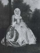 Probably Dorothy Savile,Countess of Burlington,seated in the Orange tree garden at Chiswick