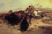 Charles M Russell Buffalo Hunt oil painting reproduction