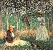 In the woods at Giverny Blanche Hoschede at her Easel with Suzanne Hoschede Reading