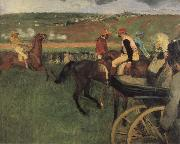 On the race place Jockeys next to a carriage, Edgar Degas