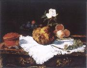 Brioche with flower and fruits, Edouard Manet