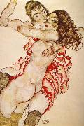 Egon Schiele Two Girls Embracing Each other