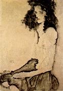 Egon Schiele Girl in Black oil painting reproduction