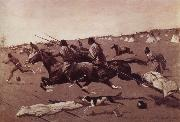Oil undated Geronimo Fleeing from camp, Frederick Remington