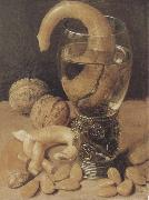 Style life with wine glass and pretzel, Georg Flegel
