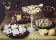 Osias Beert Style life with oysters confectionery and fruits oil painting