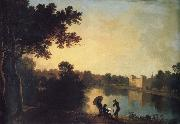 View from the South-east with the house and bridge beyond the lake and basin, Richard  Wilson