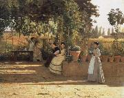 Silvestro lega In the wine bower oil painting