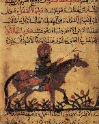 Islamic school horse and horseman illustration out of the book of the smith art of Ahmed ibn al-Husayn ibn al-Ahnaf