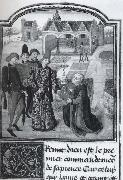 Guillbert de Lannoy presenting his book L-Instruction d-un jeune prince to Charles the Bold in a garden