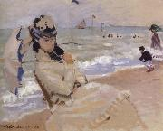 Camille on the Beach at Trouville, Claude Monet