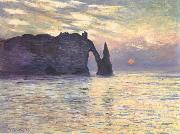 The Cliff,Etretat,Sunset, Claude Monet