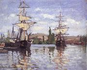 Ships Riding on the Seine at Rouen, Claude Monet