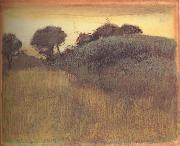 Wheat Field and Green Hill, Edgar Degas