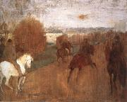 Horses and Riders on a road