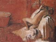 Lady toweling off her body after bath, Edgar Degas