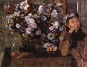 A Woman seated beside a vase of flowers, Edgar Degas