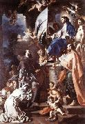Francesco Solimena St Bonaventura Receiving the Banner of St Sepulchre from the Madonna oil painting on canvas