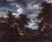 Hilly Wooded Landscape with Cattle, Jacob van Ruisdael