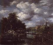 Landscape with a windmill  near town Moat, Jacob van Ruisdael