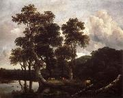 Grove of Large Oak trees at the Edge of a pond, Jacob van Ruisdael