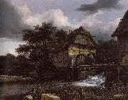 Jacob van Ruisdael Two Water Mills and an Open Sluice oil painting reproduction
