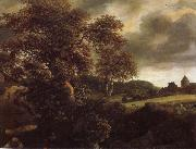 Hilly Landscape with a great oak and a Grainfield, Jacob van Ruisdael