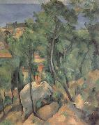 Boulders,Pine trees and sea at l-estaque, Paul Cezanne
