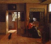 Interior with a Mother Delousing her Child-s Hair Known as A mother-s Duty