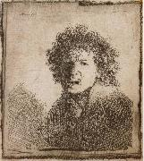 Self-Portrait,Open-Mouthed,As if Shouting, REMBRANDT Harmenszoon van Rijn