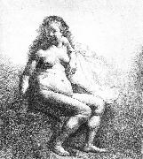 REMBRANDT Harmenszoon van Rijn Seated female nude oil painting reproduction